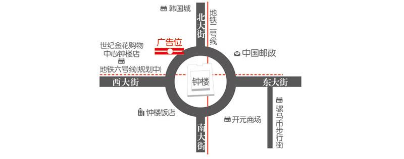 钟楼世纪金花下沉式广场DCP数码大牌媒体位置